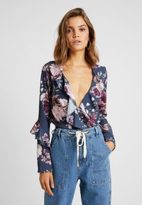 Missguided - WRAP FRONT FRILL BODYSUIT - Blouse - navy - 0