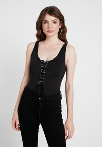 Missguided - ROPE LACE UP BODYSUIT - Top - black - 0