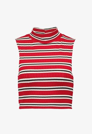 STRIPED HIGH NECK SLEEVELESS CROP - Top - red