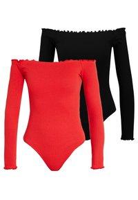 Missguided - LETTUCE HEM BARDOT BODYSUIT 2 PACK  - Longsleeve - black/red - 0