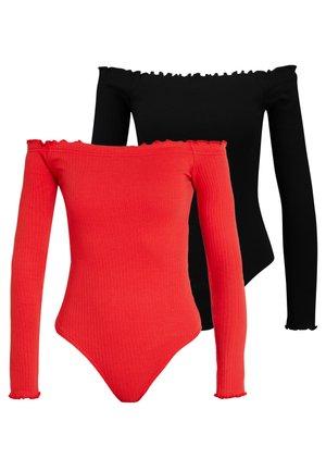 LETTUCE HEM BARDOT BODYSUIT 2 PACK  - Long sleeved top - black/red