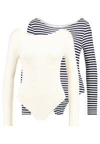 Missguided - LONG SLEEVE LOW BACK 2 PACK - Camiseta de manga larga - navy blue/white/cream - 0
