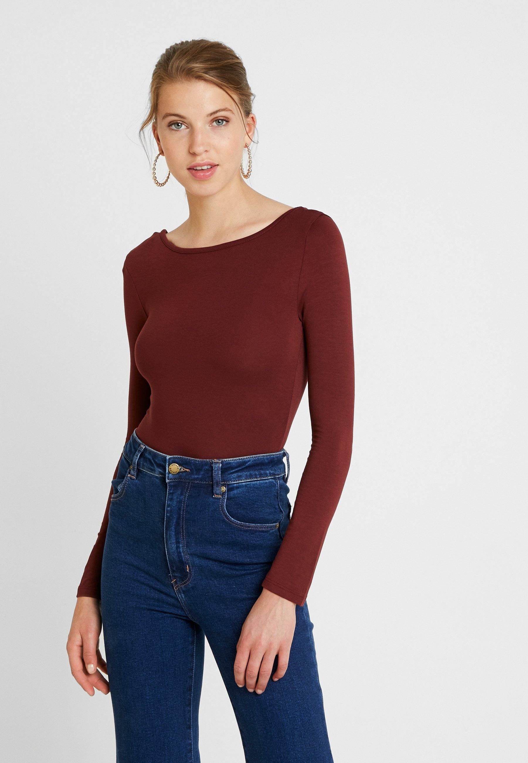 à Missguided burgundy BACK manches LOW SLEEVE LONG 2 black longues shirt PACKT vN8O0wmn