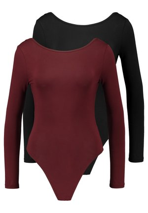 LONG SLEEVE LOW BACK 2 PACK - Longsleeve - black/burgundy