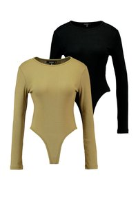 Missguided - LONG SLEEVE CREW NECK BODYSUIT 2 PACK - T-shirt à manches longues - black - 0