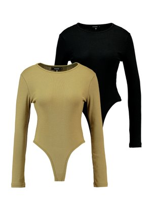 LONG SLEEVE CREW NECK BODYSUIT 2 PACK - Top s dlouhým rukávem - black