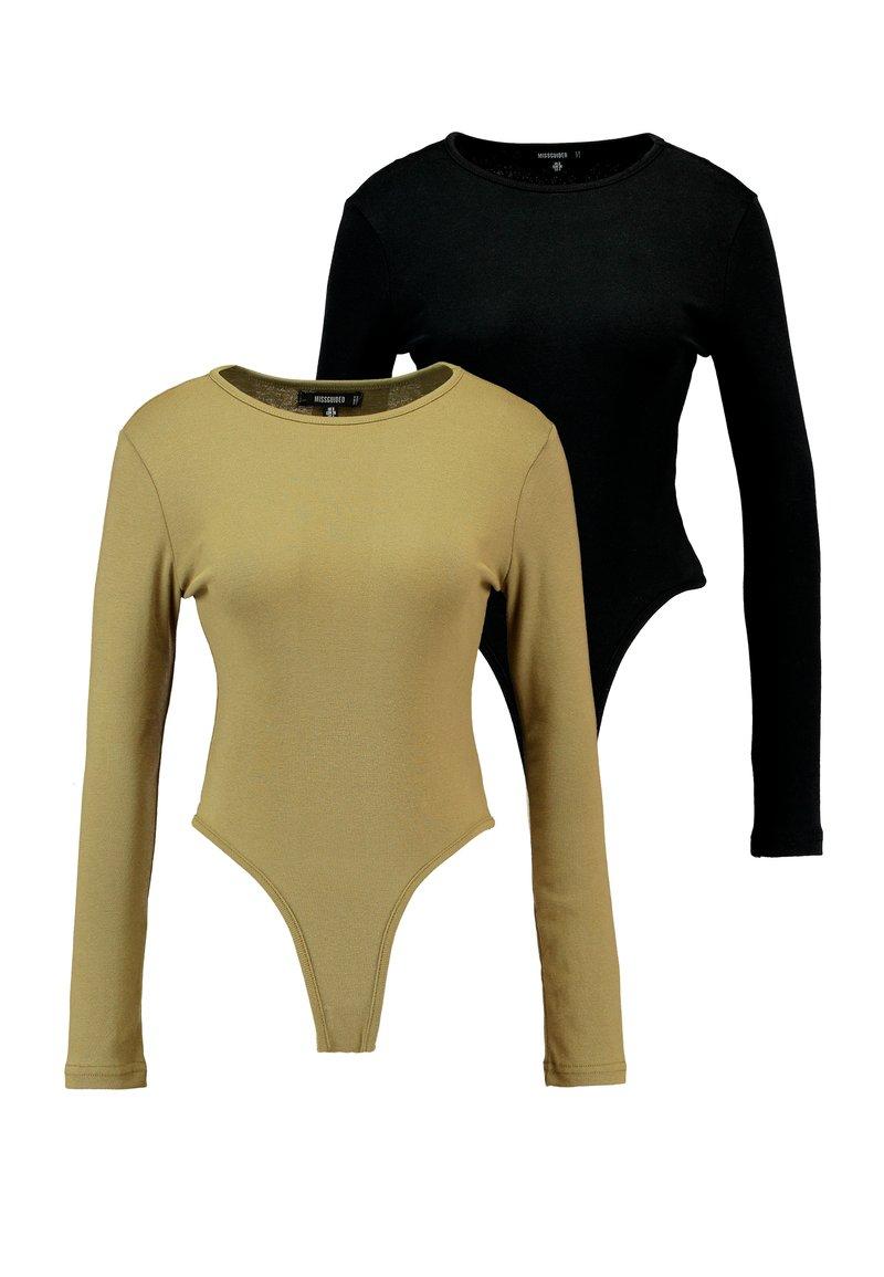 Missguided - LONG SLEEVE CREW NECK BODYSUIT 2 PACK - Langarmshirt - black