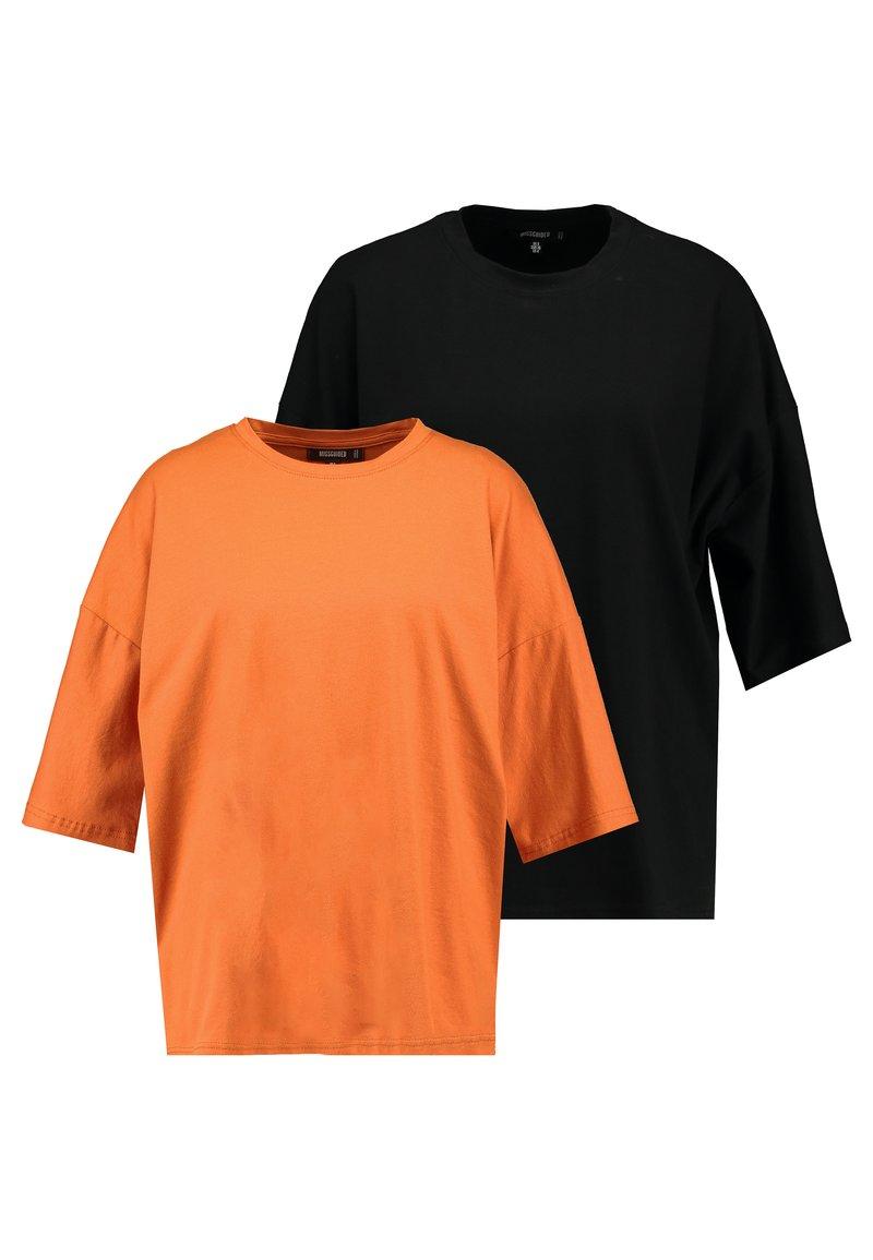 Missguided - DROP SHOULDER OVERSIZED 2 PACK  - Langærmede T-shirts - black/rust