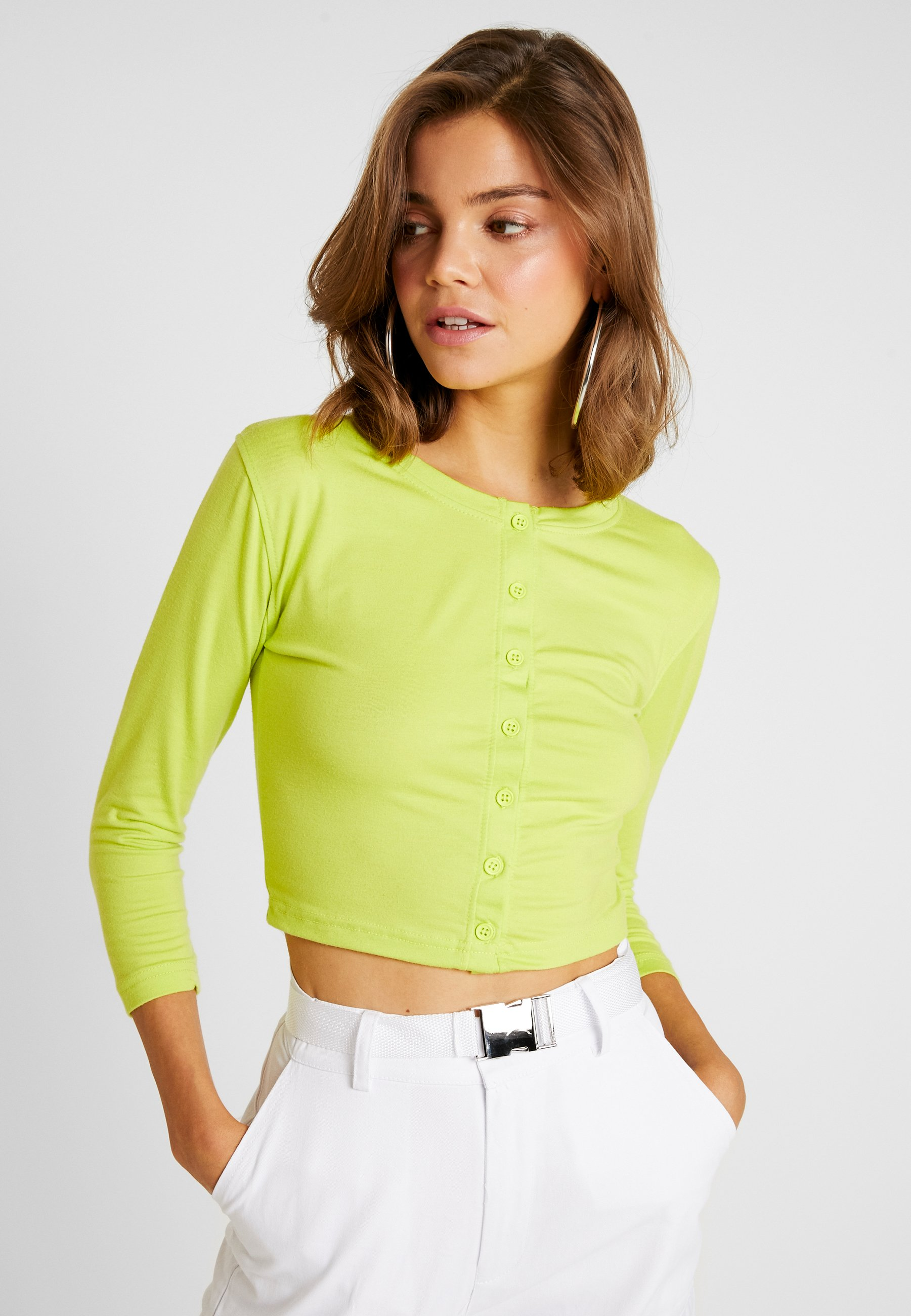 Neon Green Front Missguided CropT Longues À Button Manches shirt ymO80PvNnw