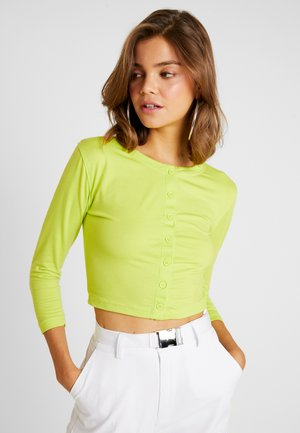 BUTTON FRONT CROP - Topper langermet - neon green