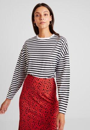 STRIPE DROP SHOULDER LONG SLEEVE - Topper langermet - white/black