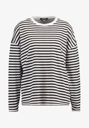 STRIPE DROP SHOULDER LONG SLEEVE - Long sleeved top - white/black