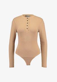 Missguided - POPPER HIGH NECK BODYSUIT - Bluzka z długim rękawem - brown - 3