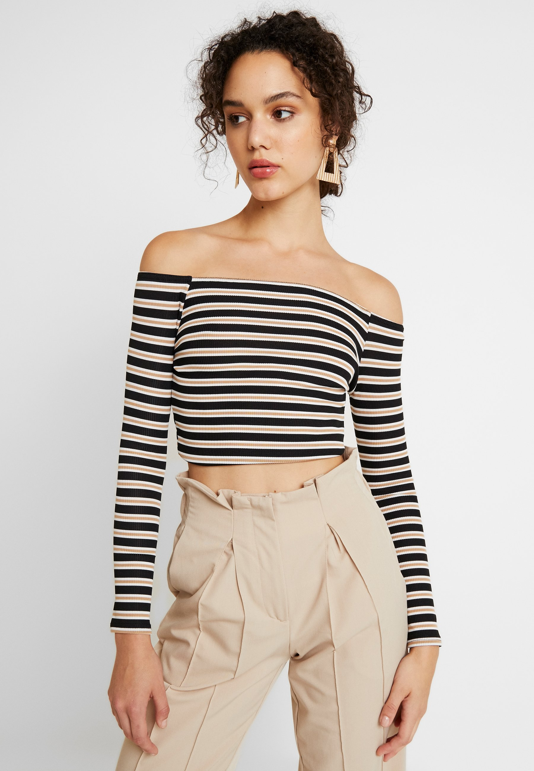 Missguided Bardot shirt Manches Striped Black À CropT Longues TPiXZkOu