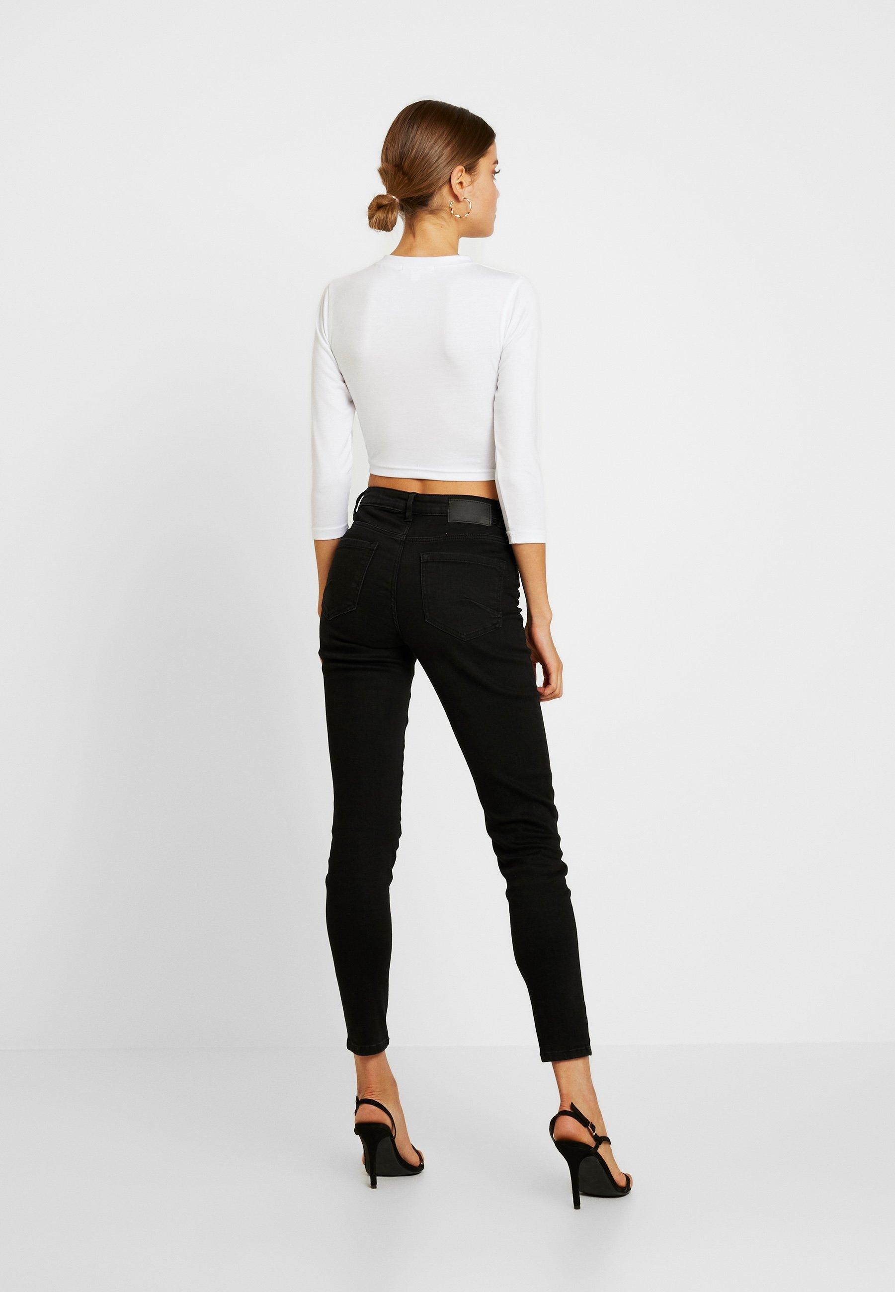 Missguided Front Longues CropT White Long Sleeve shirt À Button Manches 4Rj3cLqA5
