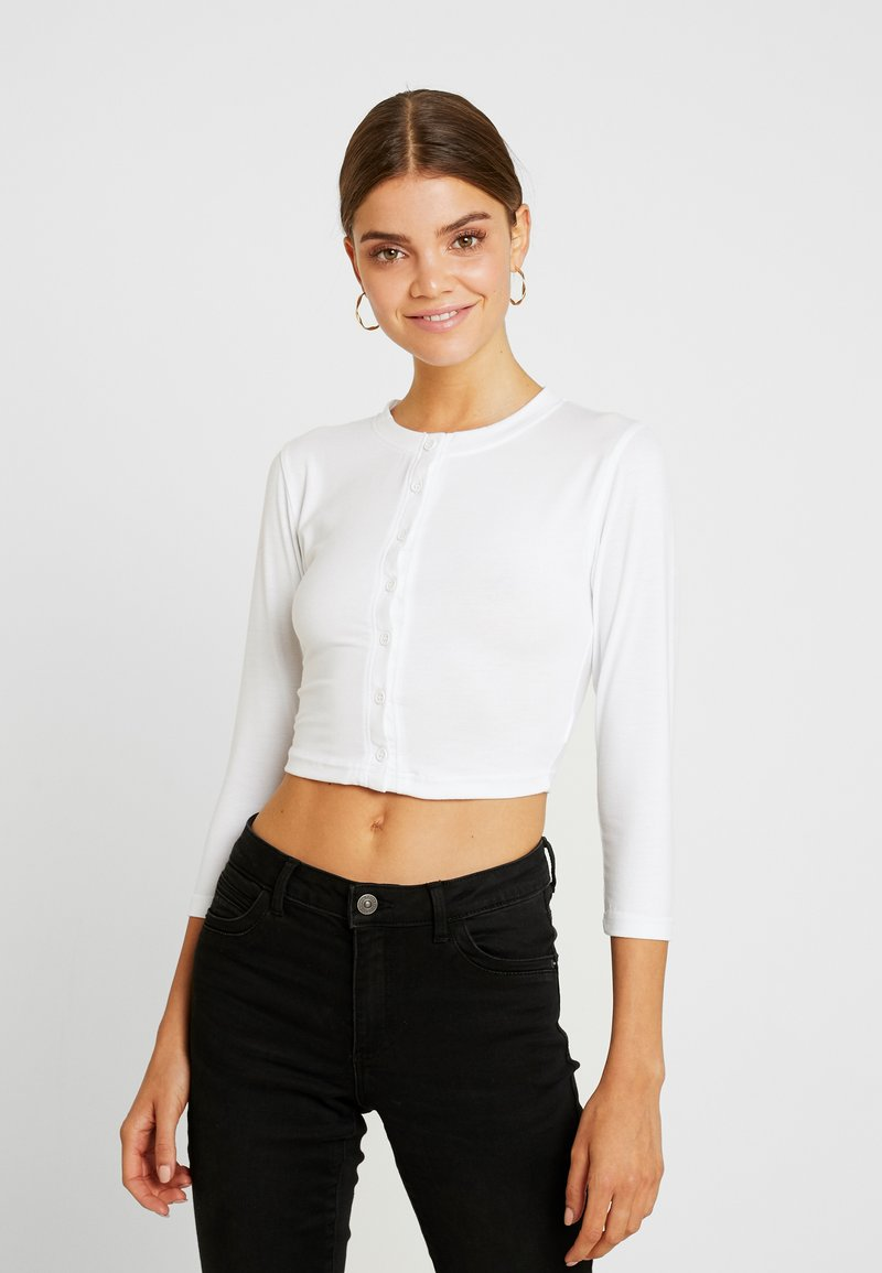 Missguided - BUTTON FRONT LONG SLEEVE CROP - Långärmad tröja - white