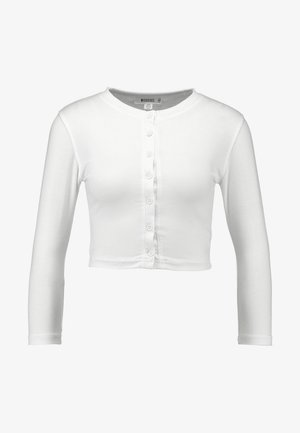 BUTTON FRONT LONG SLEEVE CROP - Langærmede T-shirts - white