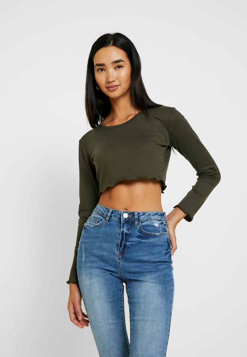 Missguided - LONG SLEEVE LETTUCE CROP 2 PACK - Longsleeve - forest green/cream