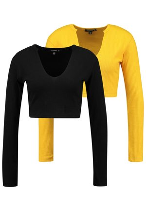 2 PACK NOTCH NECK LONG SLEEVE CROP - Longsleeve - old gold/jet black