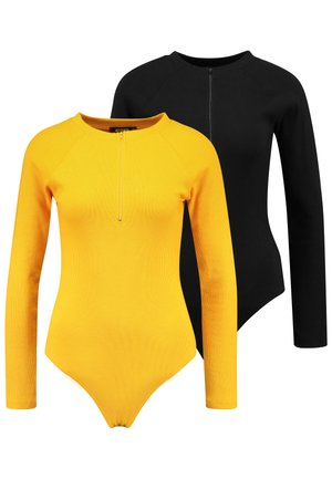 ZIP FRONT BODYSUIT 2 PACK - Maglietta a manica lunga - jet black/old gold