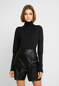 Missguided - TURTLE NECK PUFF SLEEVED BODYSUIT - Longsleeve - black - 0