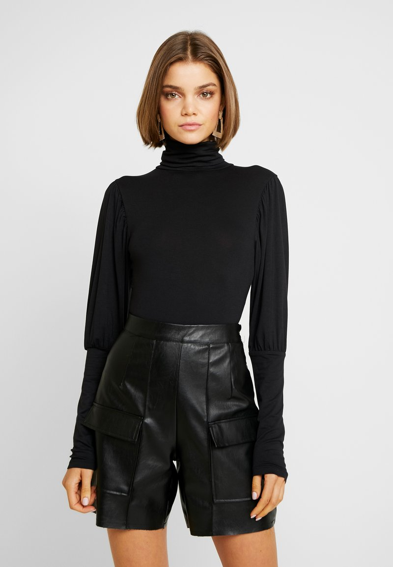 Missguided - TURTLE NECK PUFF SLEEVED BODYSUIT - Long sleeved top - black