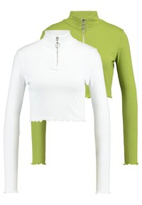 Missguided - HIGH NECK LETTUCE HEM ZIP UP CROP 2 PACK - Long sleeved top - split pea/brilliant white - 0