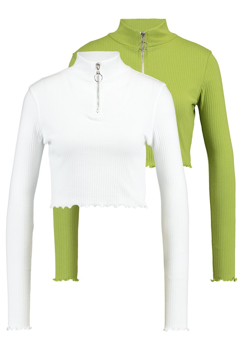 Missguided - HIGH NECK LETTUCE HEM ZIP UP CROP 2 PACK - Long sleeved top - split pea/brilliant white
