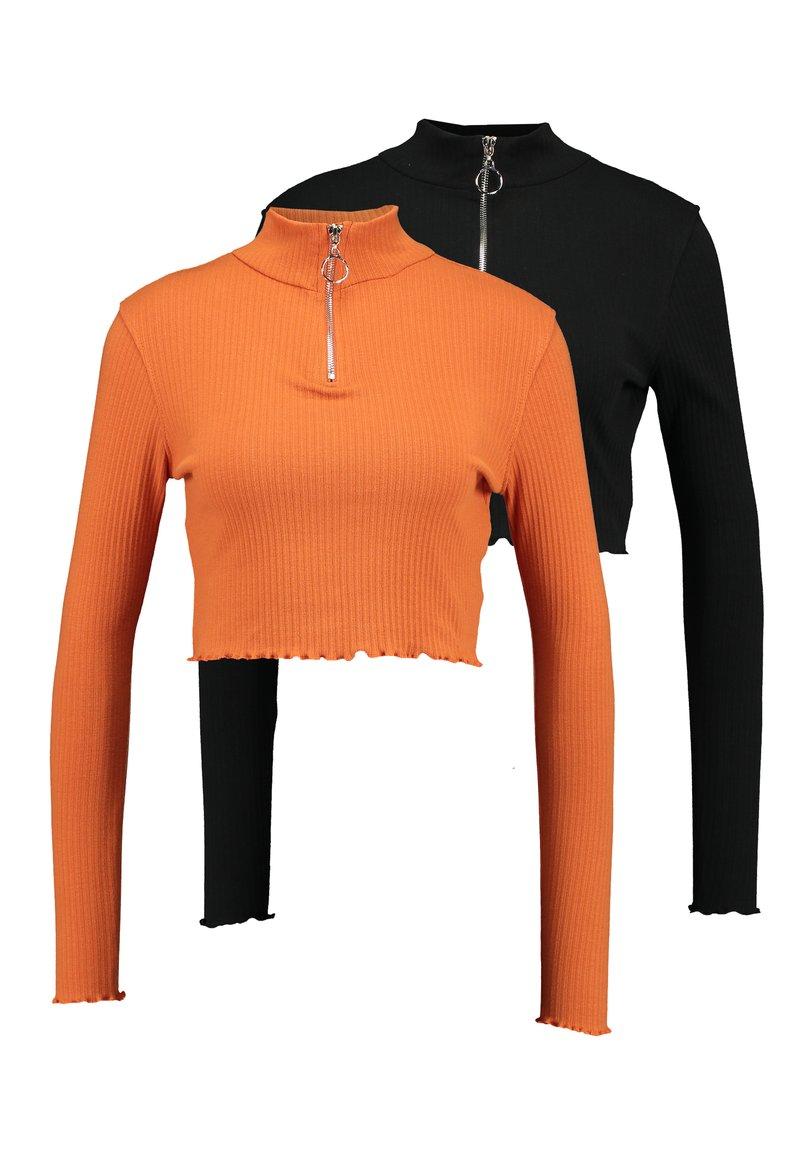 Missguided - HIGH NECK LETTUCE HEM ZIP UP CROP 2 PACK - Camiseta de manga larga - jet black/appricot orange