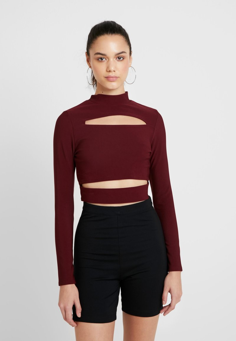 Missguided - CUT OUT CROP - Long sleeved top - burgundy