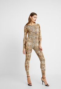 Missguided - HALLOWEEN LEOPARD PRINT SCOOP BACK - Jumpsuit - brown - 0