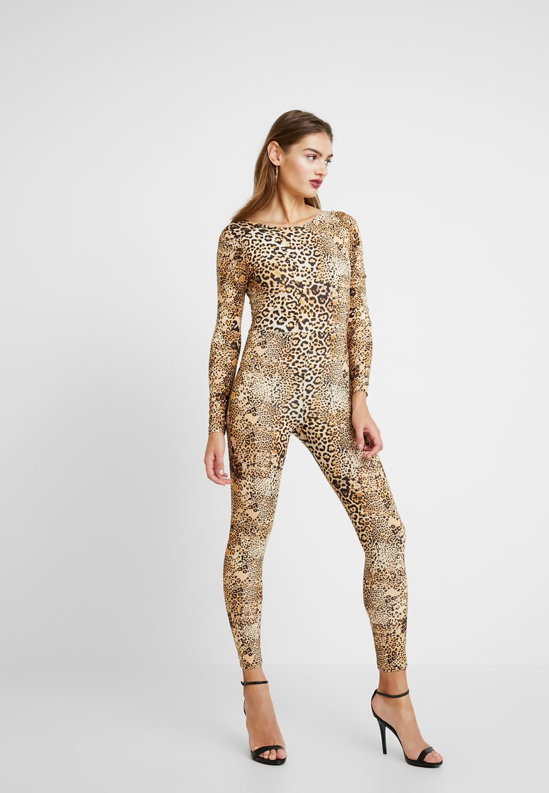 Missguided - HALLOWEEN LEOPARD PRINT SCOOP BACK - Jumpsuit - brown
