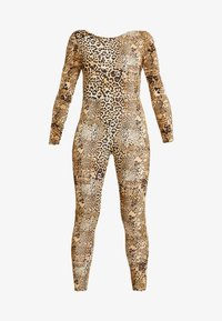 Missguided - HALLOWEEN LEOPARD PRINT SCOOP BACK - Jumpsuit - brown - 4