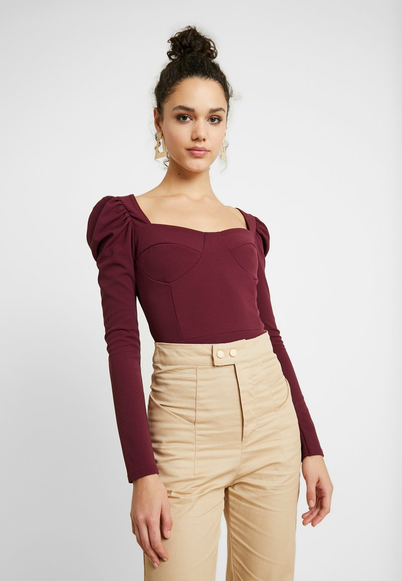 Missguided - SQUARE NECK PUFF SLEEVES BODYSUIT - Linne - burgundy