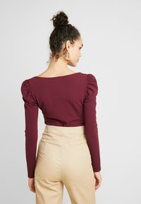 Missguided - SQUARE NECK PUFF SLEEVES BODYSUIT - Linne - burgundy - 2