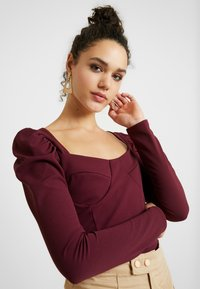 Missguided - SQUARE NECK PUFF SLEEVES BODYSUIT - Linne - burgundy - 3