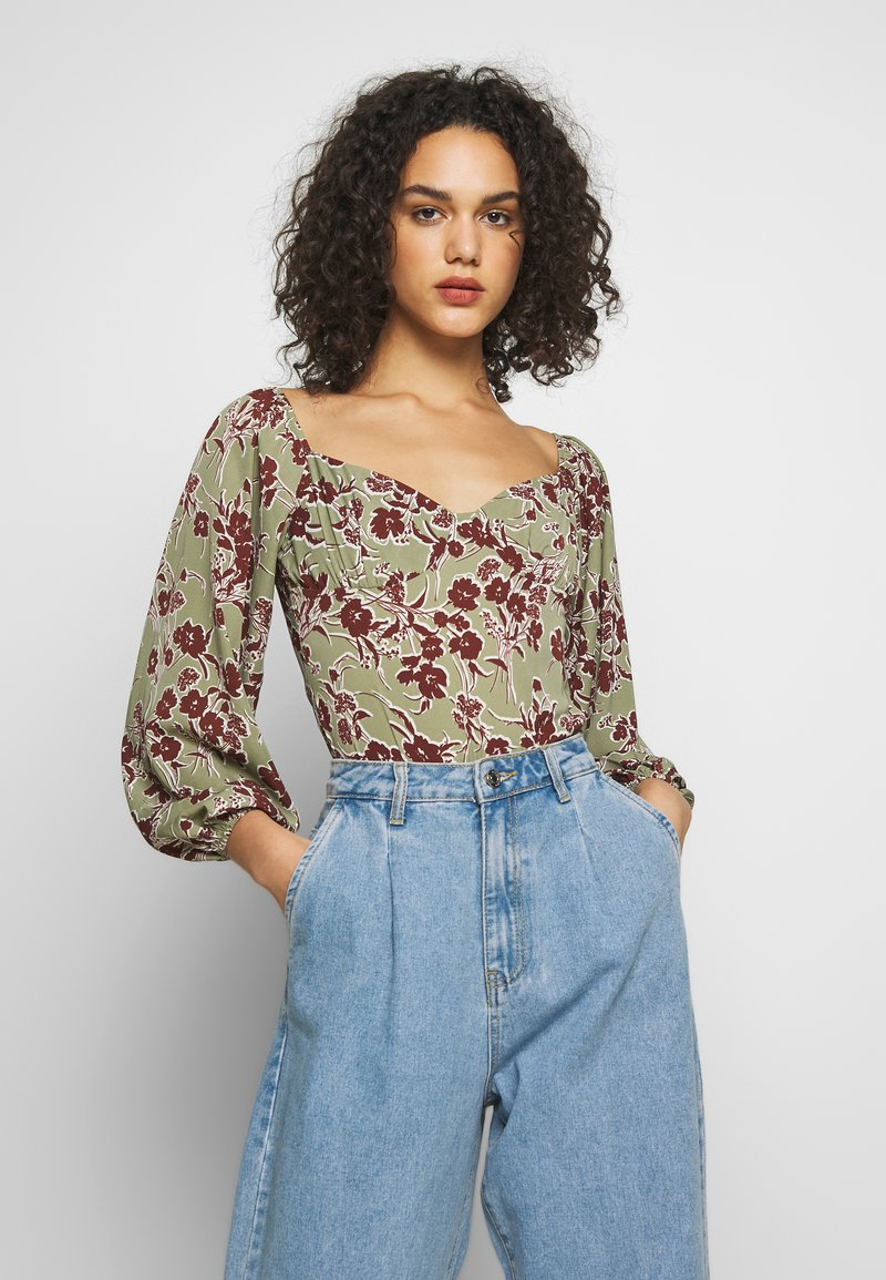 Missguided - DITSY FLORAL MILKMAID BODYSUIT - Body - green