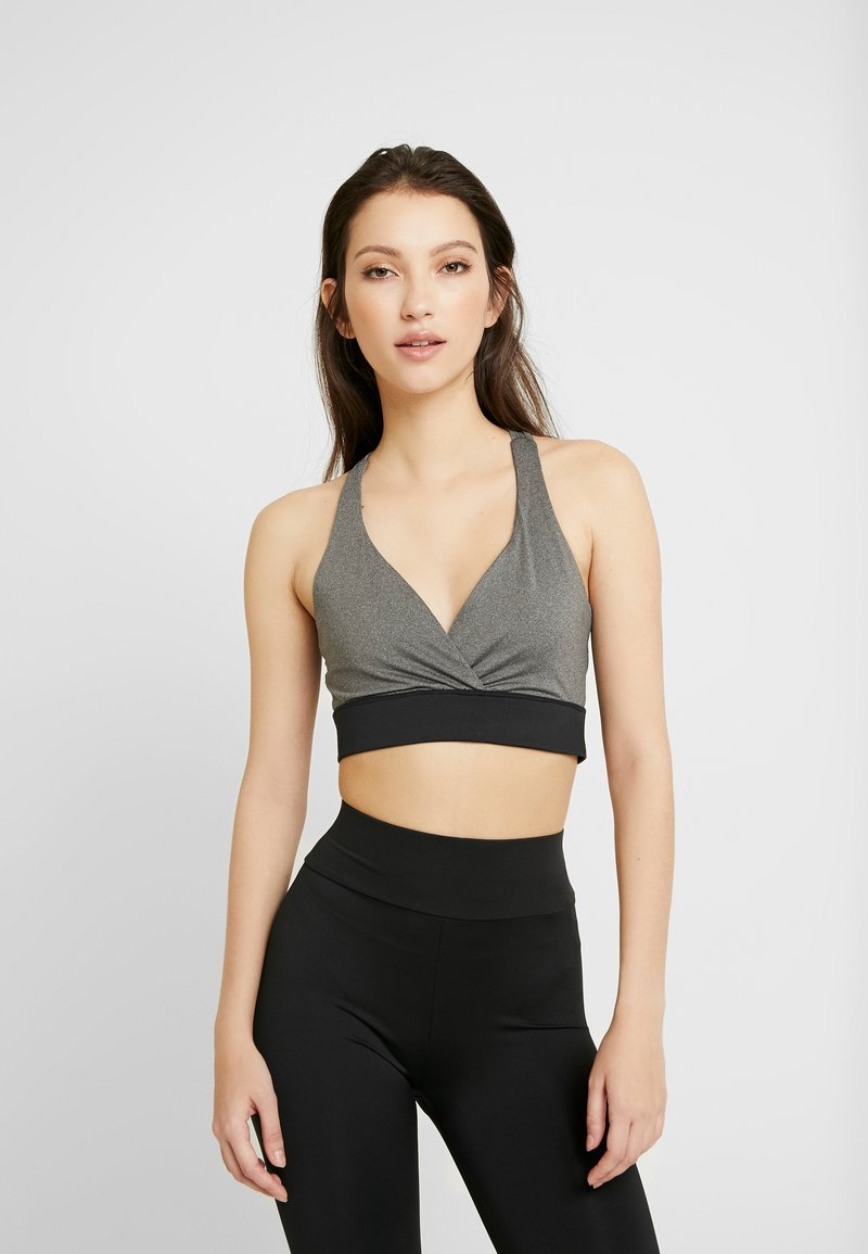 Missguided - ACTIVE CROSS FRONT SPORTS BRA SET - Top - black