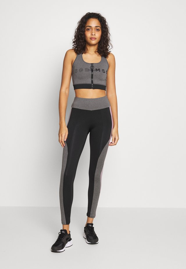 ZIP FRONT CROP AND LIME INSERT PANEL SET - Leggings - Trousers - grey