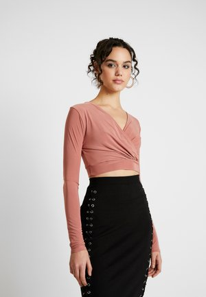 SLINKY WRAP FRONT CROP - Long sleeved top - mauve