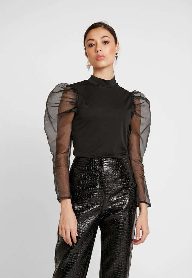 PUFF LONG SLEEVE HIGH NECK  - Long sleeved top - black