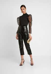 Missguided - PUFF LONG SLEEVE HIGH NECK  - Long sleeved top - black - 1