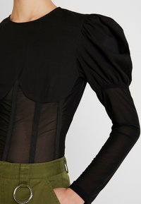 Missguided - INSERT CORSET PUFF SLEEVE - Blouse - black - 3