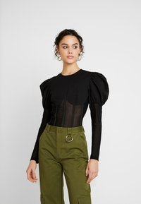 Missguided - INSERT CORSET PUFF SLEEVE - Blouse - black - 0