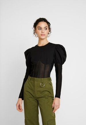 INSERT CORSET PUFF SLEEVE - Blouse - black