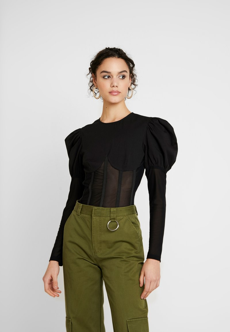 Missguided - INSERT CORSET PUFF SLEEVE - Blouse - black