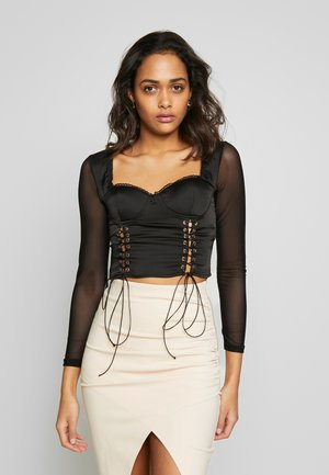 LACE UP CORSET STYLE TOP - Camiseta de manga larga - black