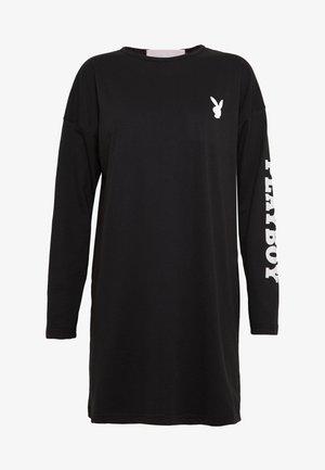 DIAMANTE BACK PRINT T-SHIRT DRESS - Sukienka z dżerseju - black