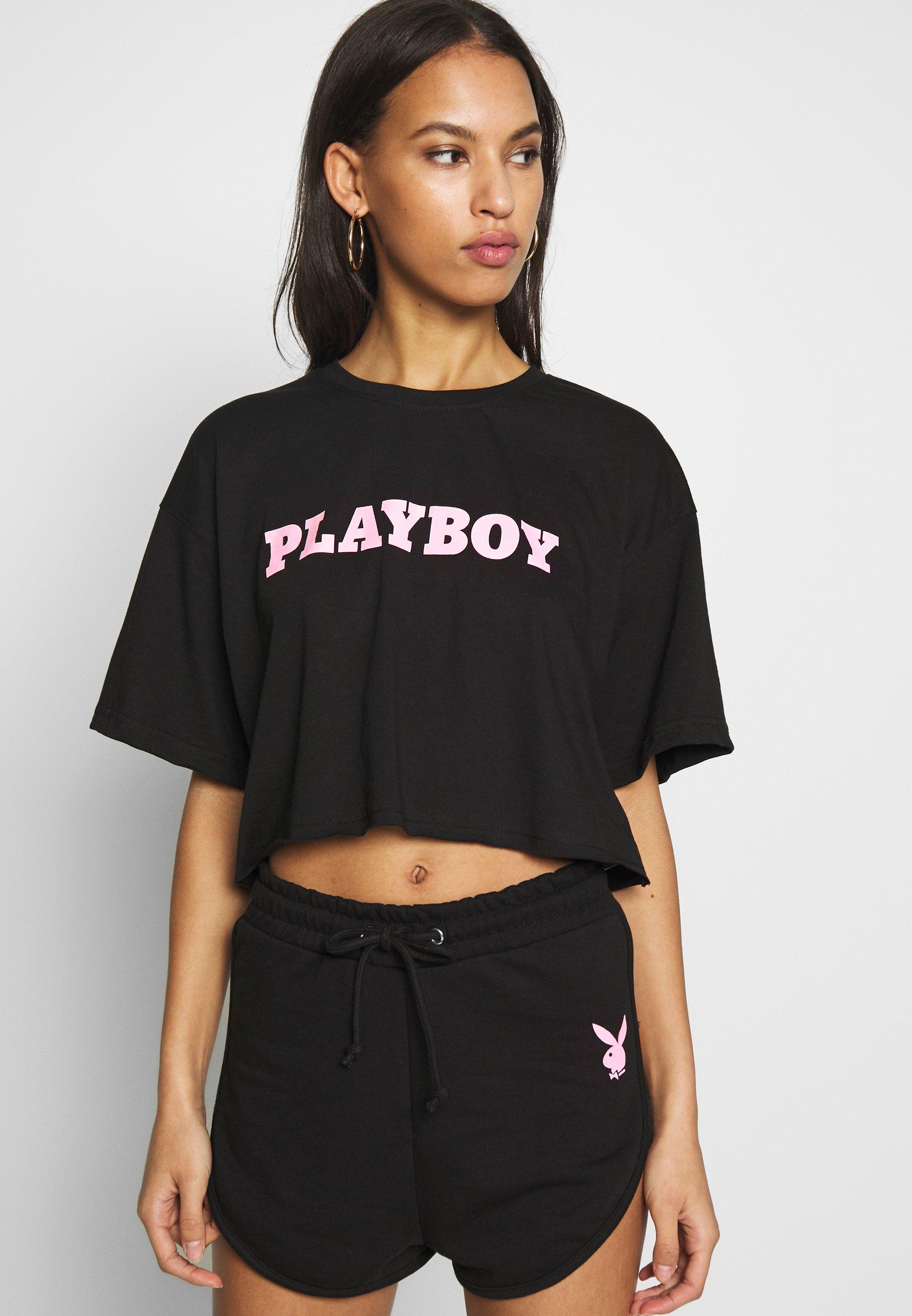 Missguided PLAYBOY CROPPED LOUNGE TEE - T-shirt z nadrukiem - black
