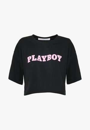 PLAYBOY CROPPED LOUNGE TEE - Print T-shirt - black
